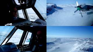 Lockheed Electra L188 Approach into Doris Lake Ice Strip and Departure