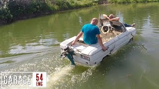 Amphibious car made using polystyrene and construction foam