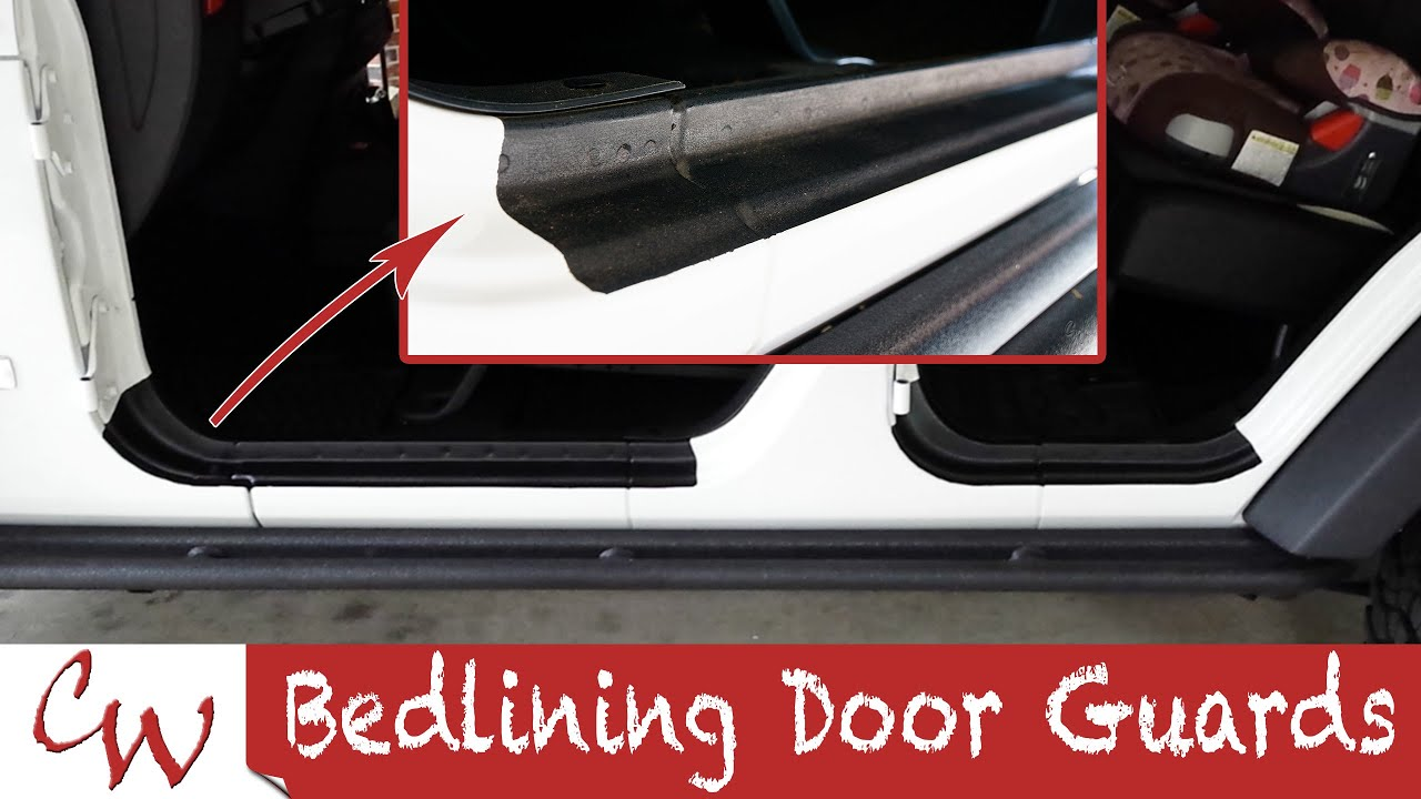 Bedlining Door Guards on a Jeep Wrangler & Bedlining Door Guards on a Jeep Wrangler - YouTube