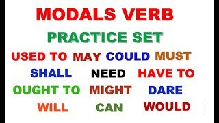 #MODALS PRACTICE SET SOLUTION ( can,could,may,might,need,ought to, dare to...etc.)