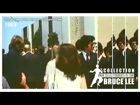 Bruce Lee at the funeral of Sharon Tate 1969 VERY RARE FOOTAGE