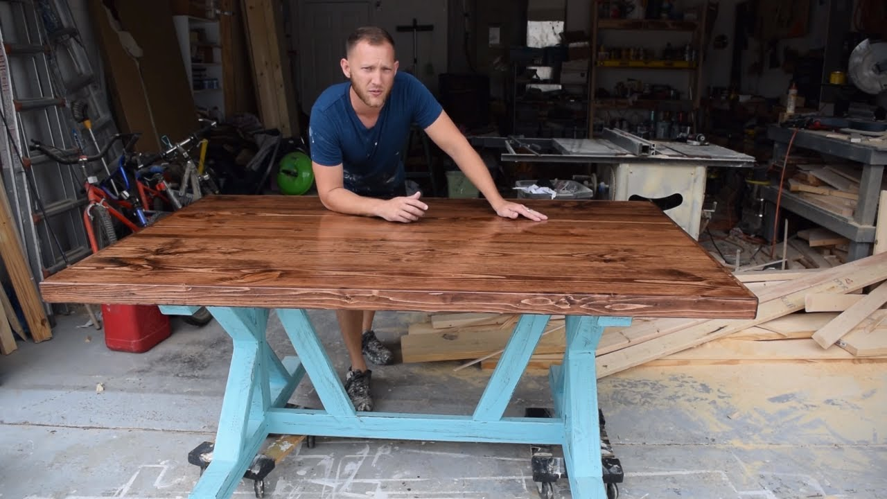 How to build a Farmhouse Table - trestle style X frame ...