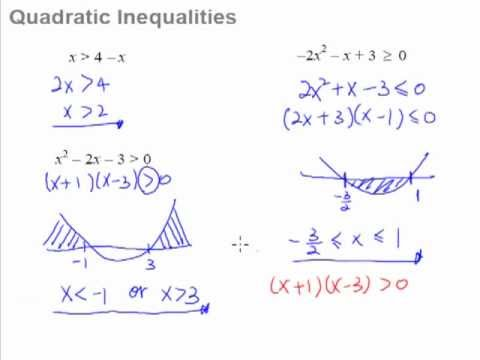 11. Quadratic Inequalities - How to solve quadratic inequalities ...