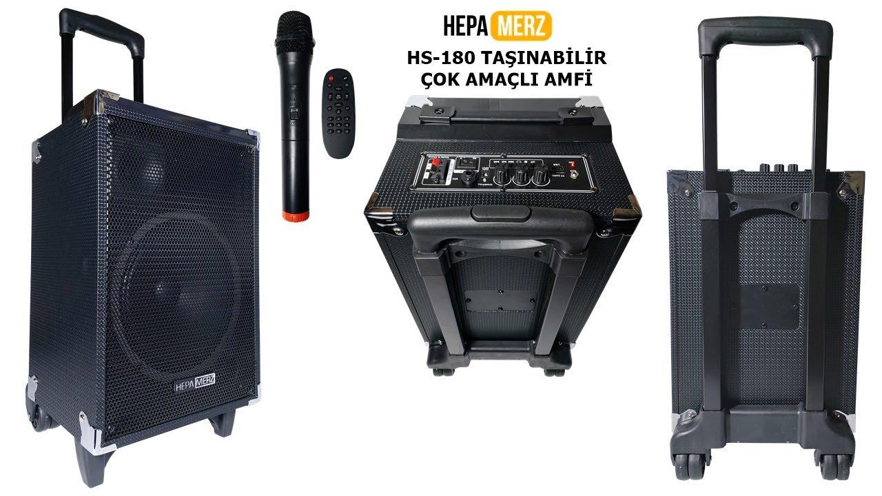 Hepa Merz HS-180 Taşınabilir Ses Sistemi Çanta Amfi Saz Gitar Amfisi  Karaoke Hoparlör - YouTube