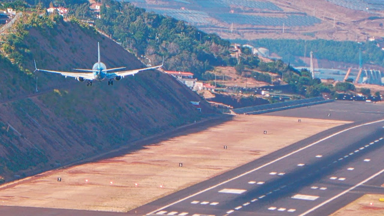 Afternoon CROSSWIND Landings and Takeoff at Madeira Airport