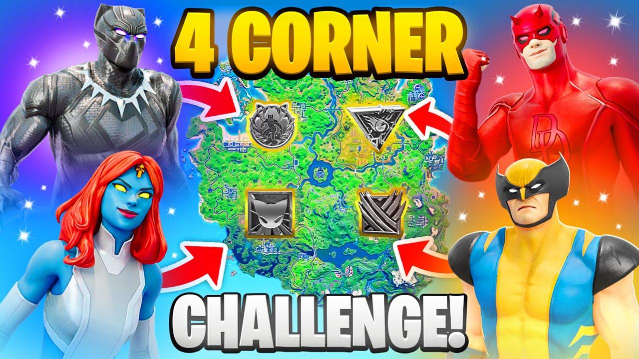 The 4 CORNER MYTHIC BOSS Challenge in Fortnite (Black Panther, Daredevil, Mystique, Wolverine)