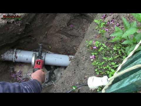 Врезка в трубу канализации