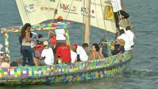 Kenyan islanders build boat from recycled plastic
