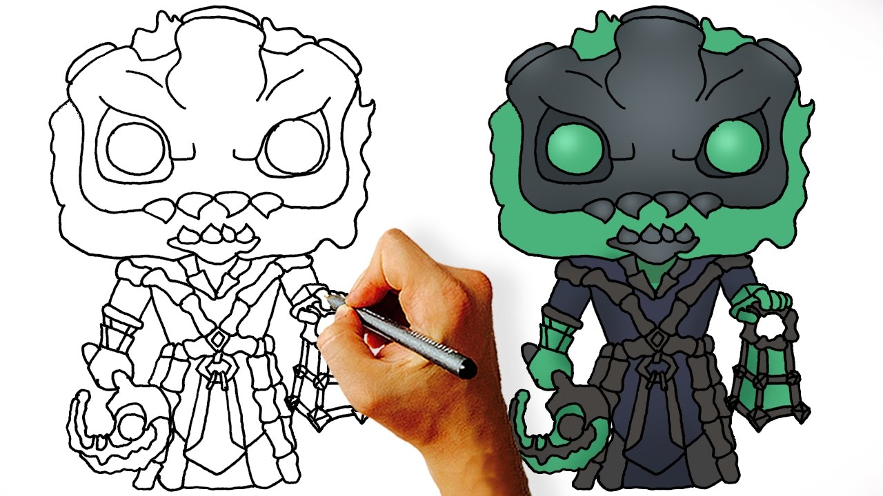 How To Draw Thresh Chibi League Of Legends Step By Step Drawing Lesson