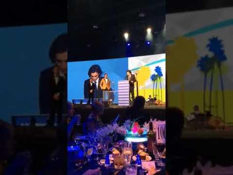 Armie Hammer introducing Timothée Chalamet at Palm Springs Gala