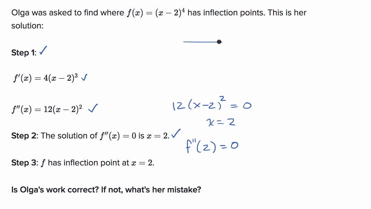 Mistakes when finding inflection points: not checking candidates  AP  Calculus AB  Khan Academy