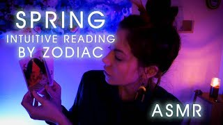 Intuitive Tarot and Oracle Card Reading by Zodiac for Spring, ASMR