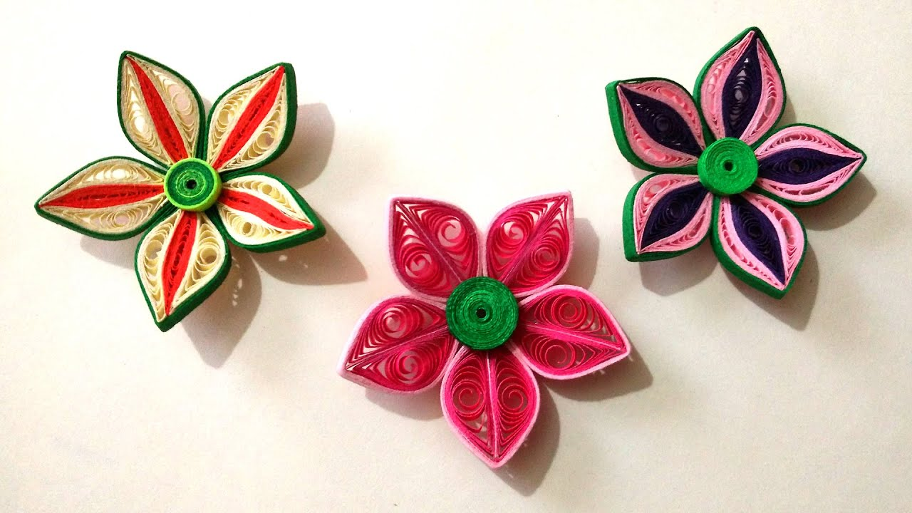 How to make beautiful 3d flower using paper art quilling for How to make a paper design