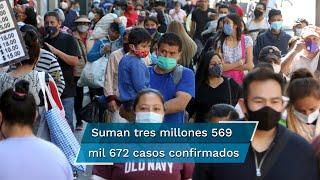 La Secretaría de Salud registró tres millones 569 mil 672 casos y 271 mil 503 muertes desde el inicio de la pandemia en el país