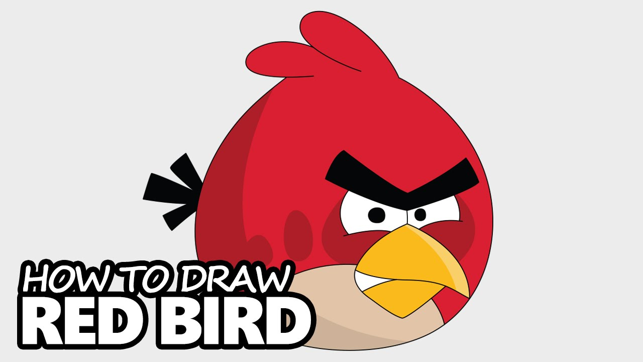 How to draw red bird from angry birds easy step by step video lesson youtube