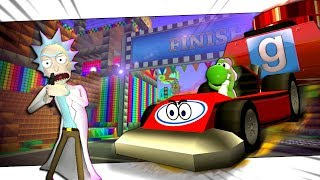 Rick and Morty in Mario Kart! - Gmod Freeze Tag (Garry's Mod)