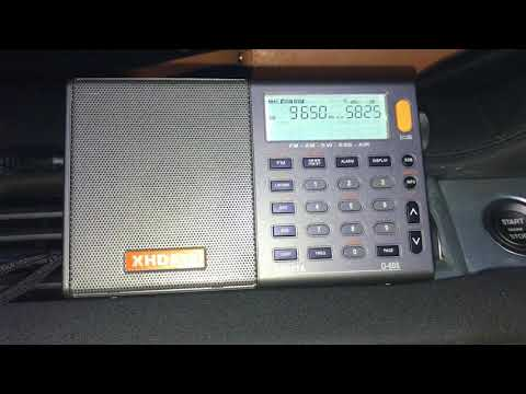 Testing the XHDATA D-808:  Radio Guinée 9650 kHz, Conakry, booming into Oxford UK