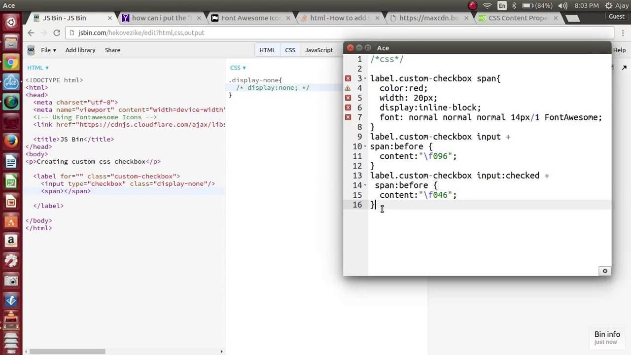 Creating custom checkbox with css