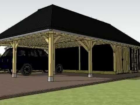 eiken gastenverblijf, dubbele carport, garage, tuinhuis, veranda met ...