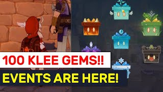 100 Daily Klee Primogems! News Events Are Available Now!   Genshin Impact
