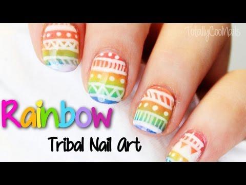 Rainbow Tribal Nail Art | TotallyCoolNails