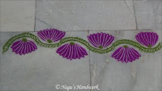 Flower Border Rangoli Design-Simple Border Rangoli Design by Nagu's Handwork