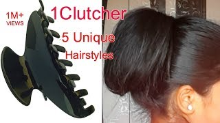 5 Unique HAIRSTYLES by using 1 CLUTCHER (in Hindi)   Namrata singh
