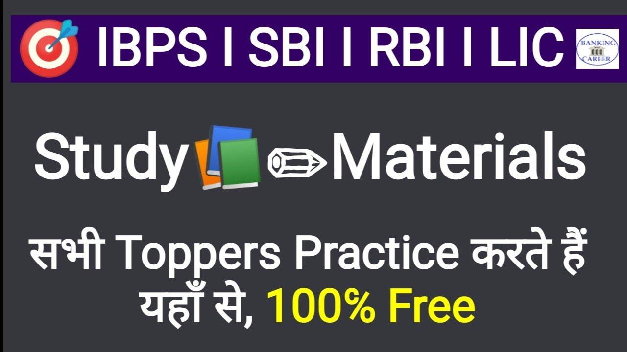 Free Study📚✏Materials For SBI PO, RRBPO, IBPS PO,CLERK, LIC