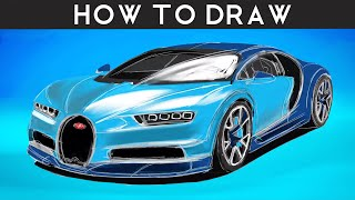 HOW TO DRAW a Bugatti Chiron - Step by Step | drawingpat