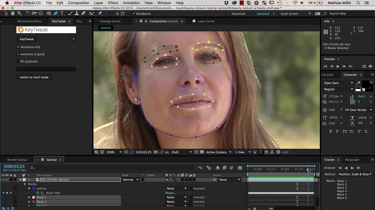 Beauty Retouch in AE Tutorial Part 4 Effective Face Tracking with the Mask  Tracker