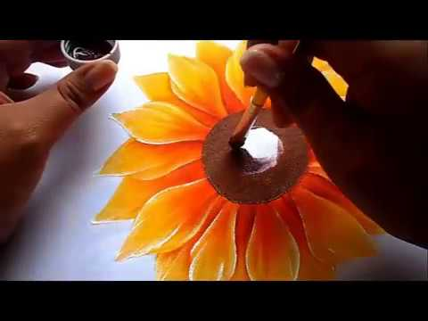 Como Pintar Flores Girasol How To Paint Flowers Sunflower Youtube