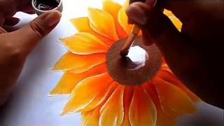 como pintar flores, girasol how to paint flowers, sunflower