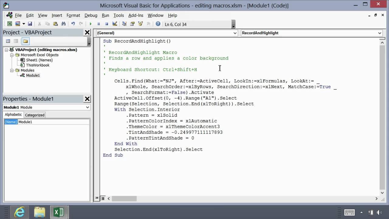 Microsoft Excel 2013 Essentials Editing Macros In Visual Basic For Applications By Bob Flisser
