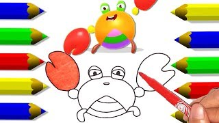Children Learn To Draw Dolphins Crab Combined Cartoon - Fun Coloring For Kids