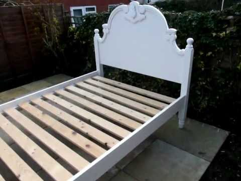 Pine Painted Double Bed Antique Aged White shabby chic FurnitureTube ...