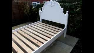 Pine Painted Double Bed Antique Aged White Shabby Chic  Furnituretube