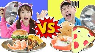 진짜음식 vs 가짜음식 쿠션 리얼푸드 복불복 대결 Challenge with real food- 마슈토이 Mashu ToysReview