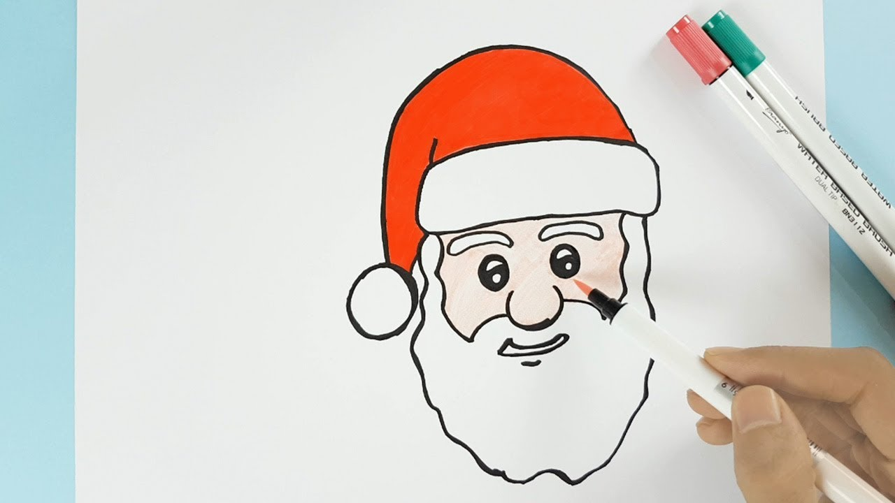 how to draw santa face with hat easy step by step