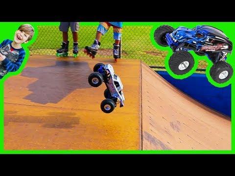RC Monster Trucks for Children at the Skate Park!