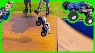 RC Monster Trucks for Children at the Skate Park!