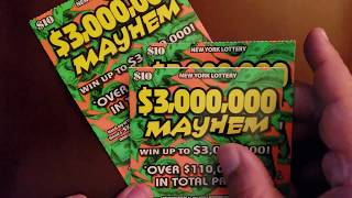 BACK TO BACK HANGERS ON MONDAY MAYHEM NEW YORK LOTTERY INSTANT WIN SCRATCH OFF TICKET