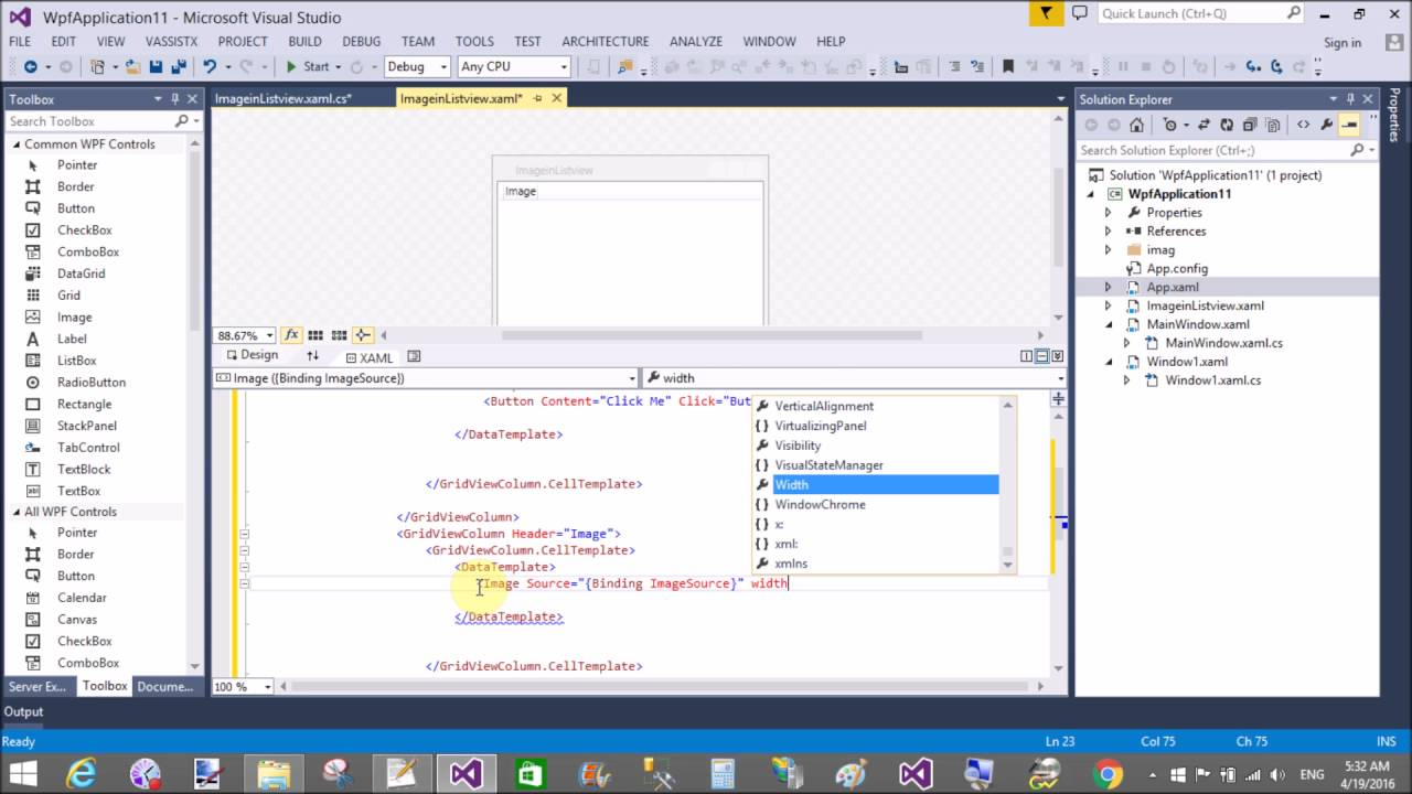 Button with Image in WPF ListView