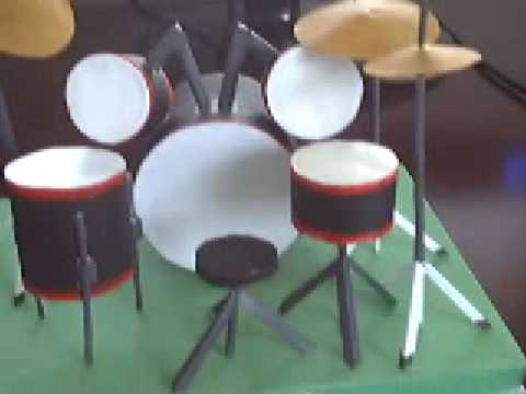 & drum set paper toy - YouTube