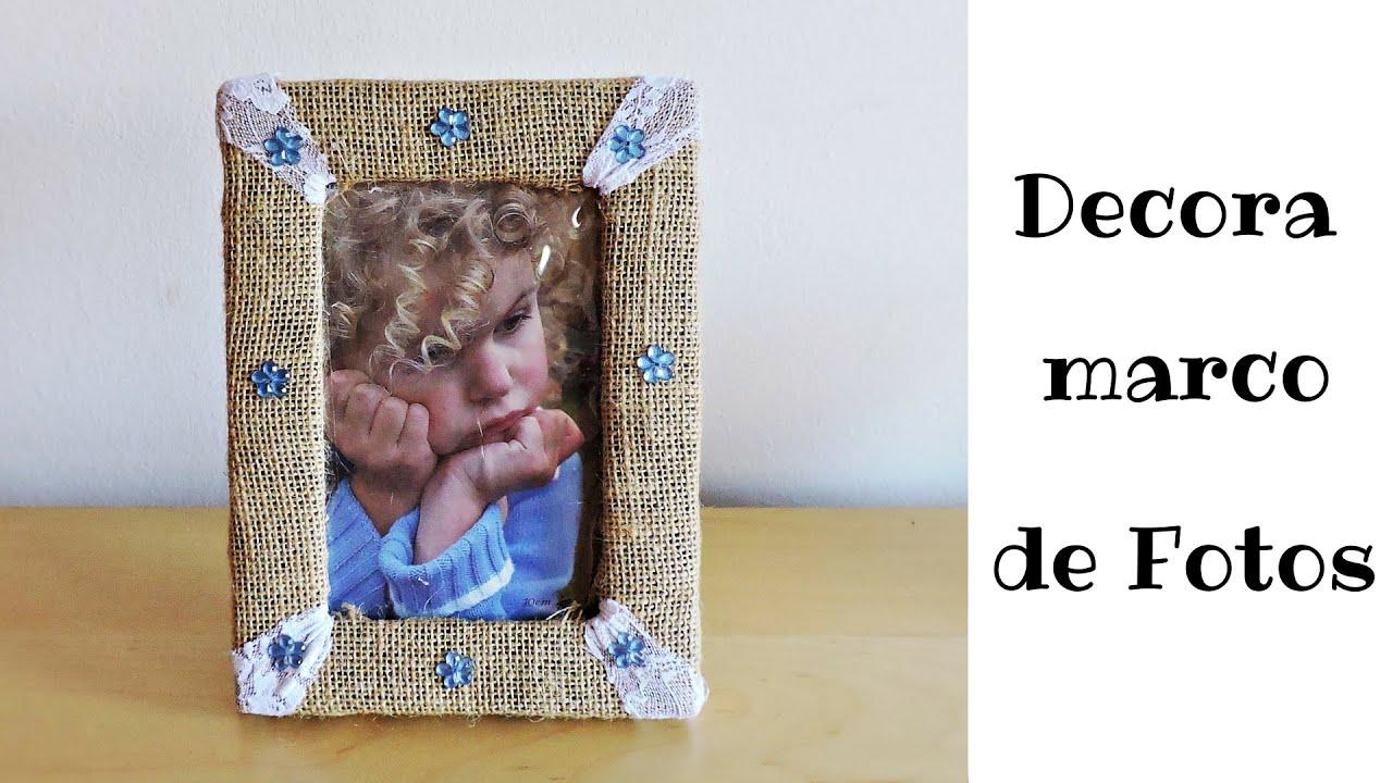 Decora marco de fotos con tela de saco o yute youtube - Tela de saco ...