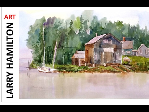 "Painting with Larry Hamilton - Watercolor - ""New England Boat Repair"" Feb 3, 2017"