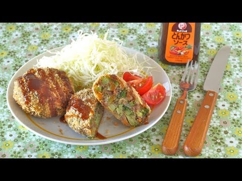 How to Make Broccoli Menchi Katsu (Minced Meat Cutlet Recipe) ブロッコリーのメンチカツの作り方 (レシピ)