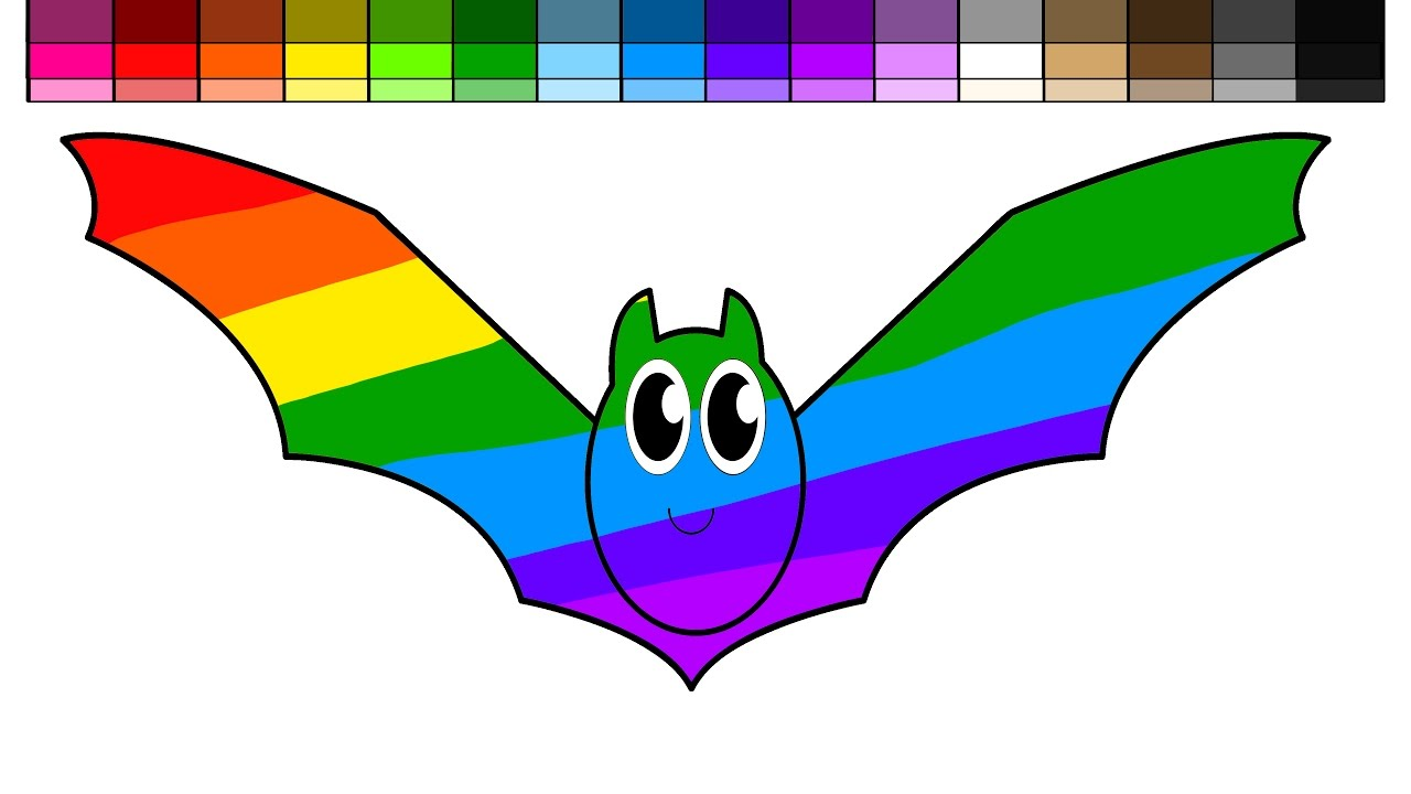 learn colors for kids and color rainbow halloween bat coloring page