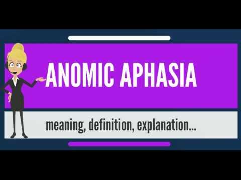 What Is Anomic Aphasia What Does Anomic Aphasia Mean
