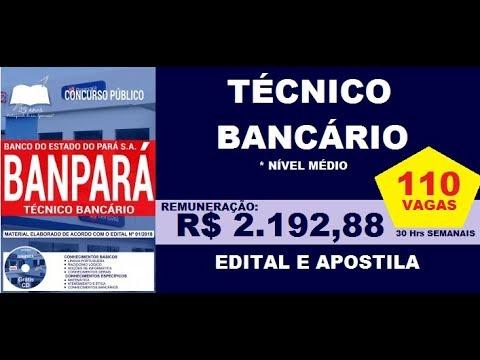 582a8cae9 Edital e Apostila Concurso BANPARÁ 2018 Cargo Técnico Bancário - YouTube