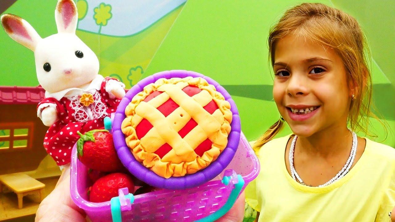 Okul öncesi Oyunlar Sylvanian Families Tavşan Pasta Yapıyor Youtube